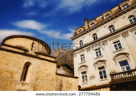Wide angle photo of St Luke church in Kotor Old Town, Montenegro - stock photo