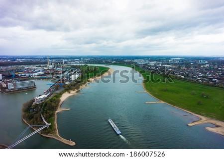 Wide angle picture of river Rhine, Duesseldorf. Seen from the television tower Rheinturm, Germany . Duesseldorf mediahafen (harbour) in Rheinland-Westphalia - stock photo