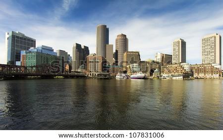 Wide-angle shot of Boston Harbor in Massachusetts, USA. - stock photo