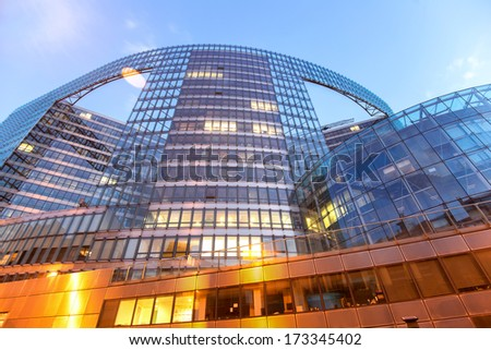 Wide angle shot of European Comission building in Brussels, Belgium - stock photo