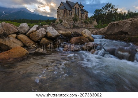 Wide angle shot of the Chapel on the Rock, taken after sunset -Allenspark Colorado - stock photo