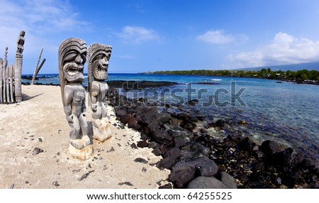 Wide Angle Tkis at Place of Refuge in Kona Hawaii - stock photo