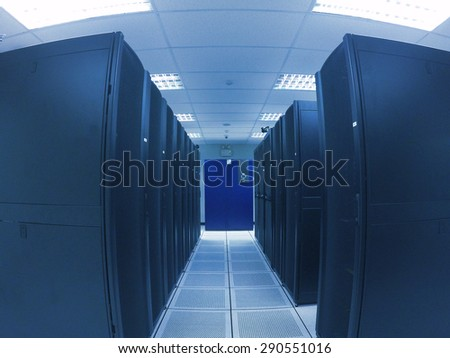 wide angle view data center in blue tone - stock photo