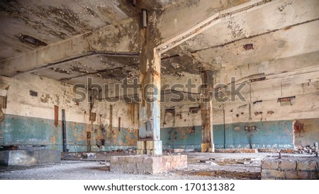 wide angle view of an old wall abandoned factory building - stock photo