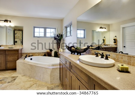 Wide angle view of bathroom