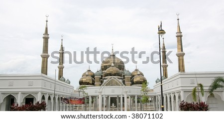 Wide angle view of crystal mosque, Malaysia - stock photo