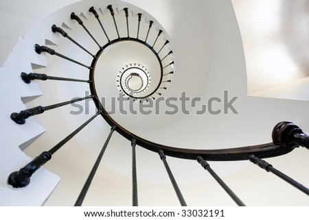 wide angle view of Grave lighthouse staircase, france, gironde - stock photo