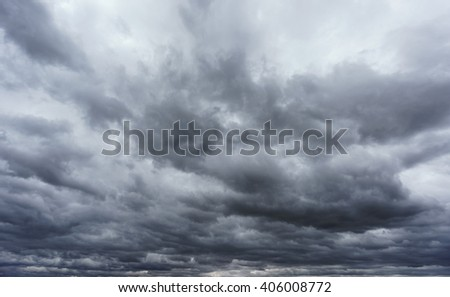 Wide angle view of stormy clouds sky - stock photo