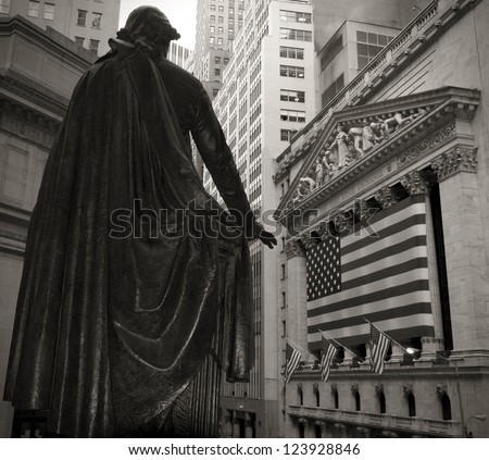 Wide-angle view of the New York Stock Exchange in sepia tone. - stock photo