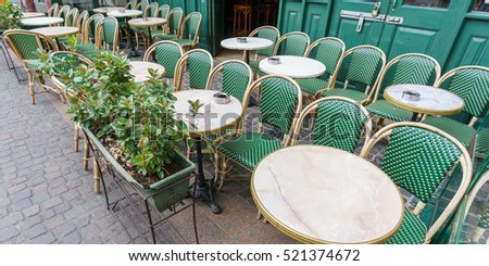 Wide angle view of typical Paris Cafe