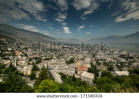 Wide angle view on City of Gjirokastra located in Albanian near boarder of Greece - stock photo