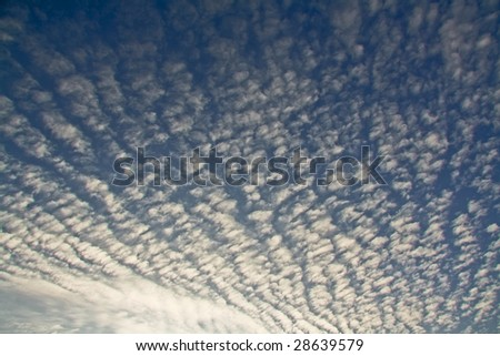 wide blue clouded sky scenery - stock photo