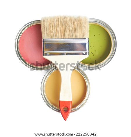 Wide brush over three cans of paint, top view above foreshortening, composition isolated over the white background - stock photo