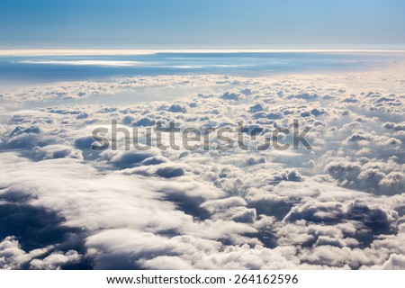 Wide cloud landscape aerial view from a plane - stock photo