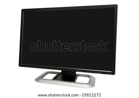 wide computer monitor isolated on white