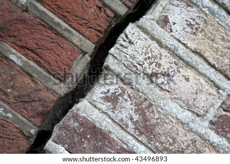 Wide crack in wall of old house diagonal
