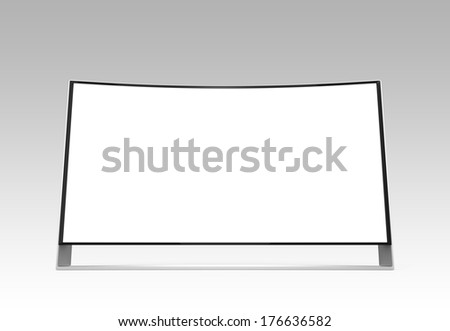 Wide curved ultra definition television with copy space. Clipping path available. - stock photo