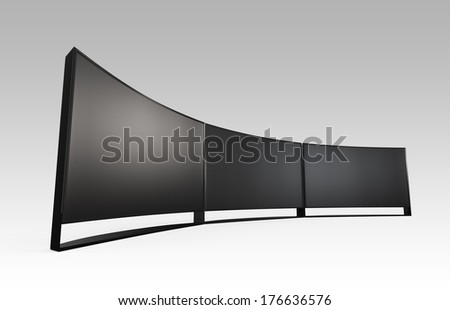 Wide curved ultra definition televisions wall. Clipping path available. - stock photo