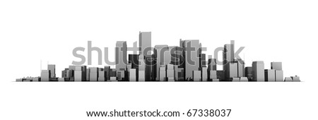 wide 3D cityscape model in shiny dark grey with a white background - buildings are casting no shadows - stock photo