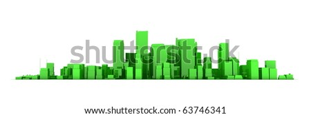 wide 3D cityscape model in shiny green  with a white background - buildings are casting no shadows - stock photo