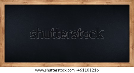 wide empty blackboard with wooden bamboo frame