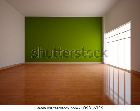 wide empty interior with a green wall - stock photo