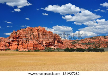 Wide expansive wheat fields near Zion National PArk - stock photo