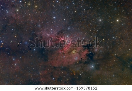 Wide Field Image of the Cave Nebula - stock photo