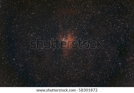 Wide field View of M16, The Eagle Nebula - stock photo