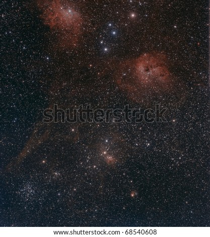 Wide Field View of the Flaming Star Region of Auriga - stock photo