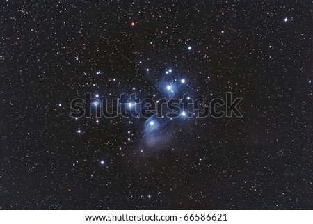 Wide field View of The Pleiades Cluster. The Seven Sisters