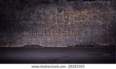 Wide grunge vintage background, color version - stock photo