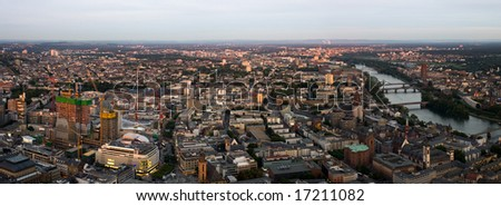 Wide High Resolution Panorama of Downtown Frankfurt - stock photo
