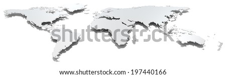 Wide image world map. Front view of thin steel world map. Hard shadow. Metal. - stock photo