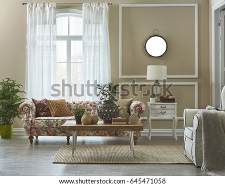 Wide Living Room Flower Pattern Sofa With Frame Wall Decoration