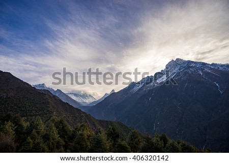 Wide open of Himalayan mountain range (Thamserku, Everest, Lhotse, Ama Dablam). - stock photo