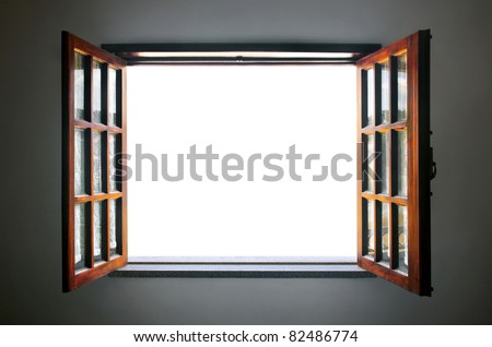 Wide open rustic wooden window with empty white space in the middle - stock photo