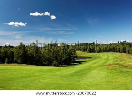 Wide open view at Bäkvattnets golf course in Sweden - stock photo