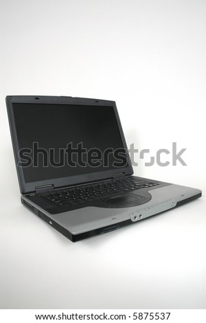 Wide opened lap top computer.