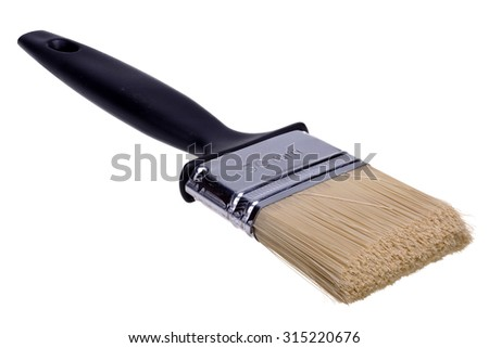 Wide paint brush isolated over the white background - stock photo