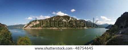 wide 180+ panorama image of Danube's Djerdap gorge(iron gate) - stock photo