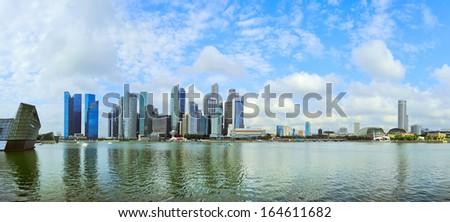 Wide panoramic view Singapore downtown - stock photo