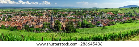 Wide panoramic view to Alsace vineyards, France. Nature and agriculture. - stock photo