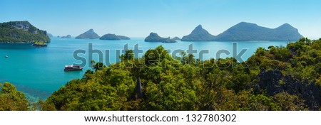 Wide panoramic view to Thailand islands. Angthong national marine park. - stock photo