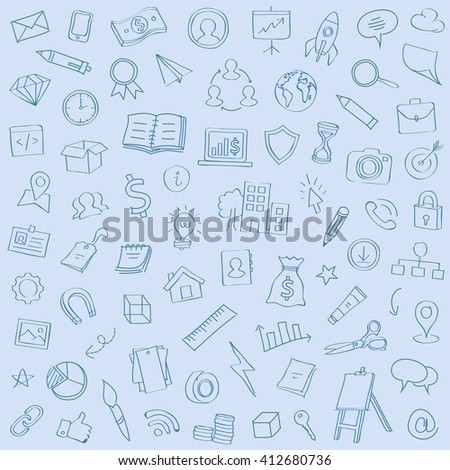 Wide range of hand drawn icons set of business strategy, brainstorming, creativity, website development doodles elements. Illustration Isolated on flat blue background.