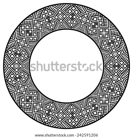 Wide round frame with ethnic pattern. Design element in black color. Could be used for web design, decoration, prints, etc. Monochromatic raster.  - stock photo