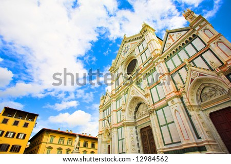 Wide Santa Croce basilica in Florence, Italy - stock photo