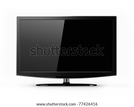 Wide screen flat HD tv - stock photo