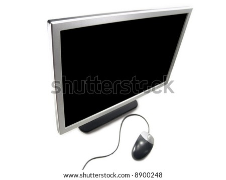 Wide Screen LCD Computer Monitor and Mouse (Isolated on white background) - stock photo