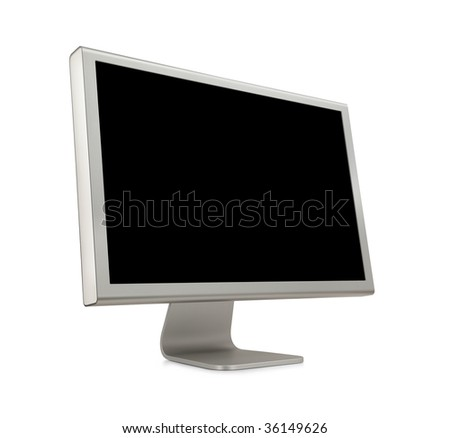 Wide Screen LCD (liquid-crystal display) computer monitor with blank (black) screen. Isolated on white background. - stock photo